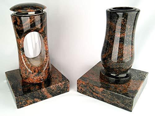 Designgrab Design Petite lampe funéraire avec vase et 2 bases en granit Aurora/Aruba/Aurindi/Indora