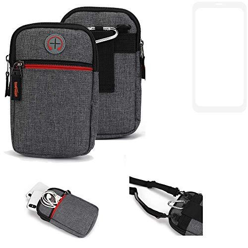 K-S-Trade® Gürtel-Tasche Für Vestel V3 5580 Dual-SIM Handy-Tasche Schutz-hülle Grau Zusatzfächer 1x