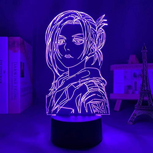 Anime 3D luz ataque a Titan Annie Leonhart lámpara para decoración del hogar regalo de cumpleaños manga ataque a Titan LED lámpara de noche Annie, 16 colores con control remoto