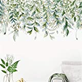 Wandtattoo Wandaufkleber, Pflanzen Wandsticker, Wandbilder Wand-Aufkleber Grüne Pflanzen Blumen Deko für Wohnzimmer Kinderzimmer Küche Flur (C)