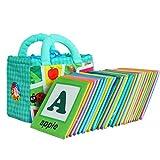 Stoffbuch für Babys, Soft Bilderbuch Baby, Badebuch für Kinder, Fühlbuch, Baby Spielzeug Stoffbuch 26 Stück Soft Alphabet Karten mit Stoff Aufbewahrungstasche