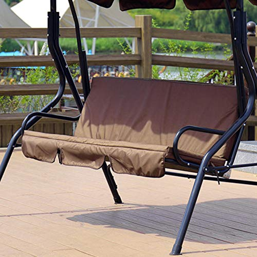 Yuehuam Patio Swing Cushion Cover Courtyard Garden Swing Seat Cover Replacement 3-Seat Cover Waterproof Protection Cover 59x43.3x3.9Inch (Brown,Thin Type)