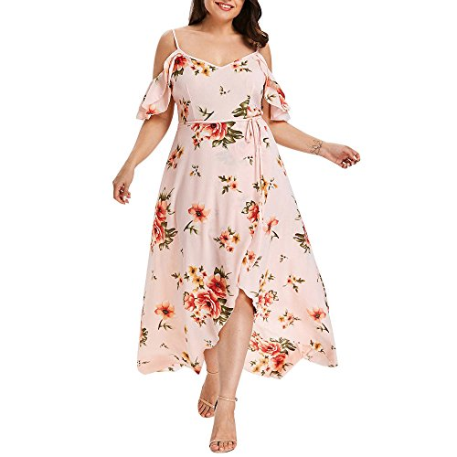 Plus Size Casual V Neck Belted Empire Waist Asymmetrical Maxi Dress Pink