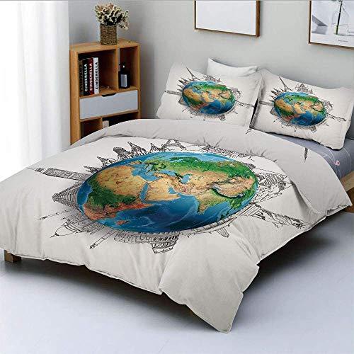 Qoqon Bettbezug-Set, Globus des Planeten Erde Realistische Kontinente Geographie Thema Bleistift Skizze DekorativDekorativ 3-teiliges Bettwäscheset mit 2 Kissen Sham, Blaugrün Hellbraun, Best