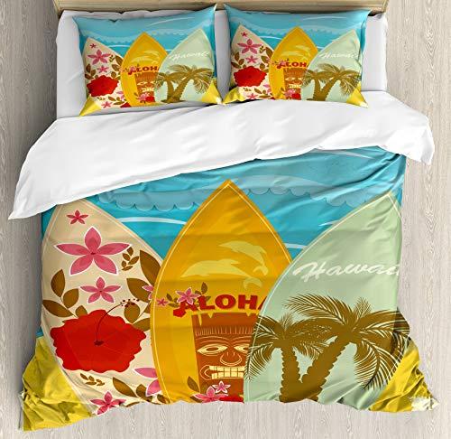 Juego de funda nórdica Tiki Bar, tablas de surf de playa hawaiana en la arena, estilo exótico de vacaciones de verano, estilo vintage, juego de cama decorativo de 3 piezas con 2 fundas de almohada, mo