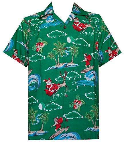 Hawaiian Shirt 41 Mens Christmas Santa Claus Party Aloha Holiday Green XL