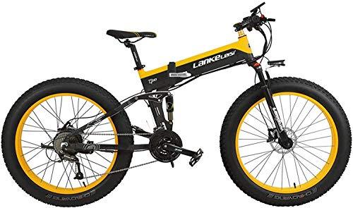 516MSBAn+6L - JINHH 27-Fach klappbares elektrisches Fahrrad mit 1000 W 26 * 4,0 Fat Bike 5 PAS Hydraulische Scheibenbremse 48 V 10 Ah Abnehmbare Lithiumbatterieladung (gelber Standard, 1000 W + 1 Sp. Z oo)
