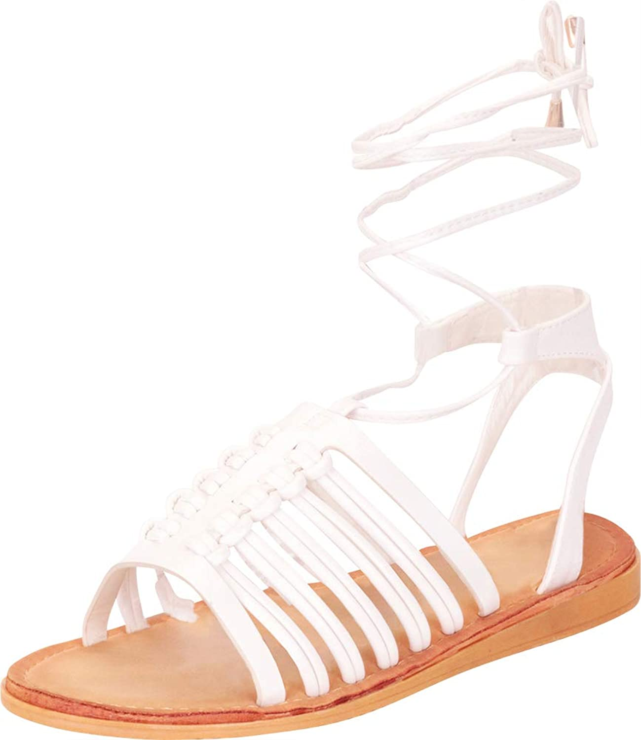 Cambridge Select Women's Strappy Caged Crisscross Ankle Tie Flat Gladiator Sandal