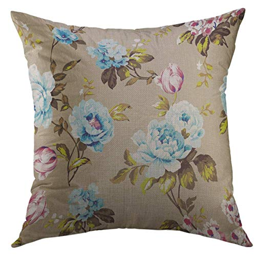 Mugod Throw Pillow Cover Blue Abstract Shabby Chic Vintage Roses Tulips Forget Me Nots Classic Chintz Floral Raster Colorful Home Decor Pillow case 18x18 Inch