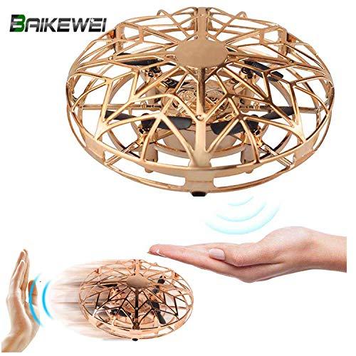 Baikewei Mini Drohne für Kinder, UFO Spielzeug RC Fliegender Ball, Hubschrauber Quadrocopter mit LED Licht, Infrarot Induktions Flying Ball Fliegendes Spielzeug für Jungen Mädchen (Gold)