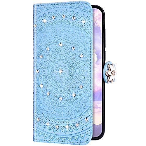 Uposao Kompatibel mit Huawei Y7 2019 Hülle Glitzer Diamant Strass Mandala Blumen Leder Hülle Flip Schutzhülle Handyhülle Brieftasche Wallet Bookstyle Case Tasche Magnet Kartenfach,Blau