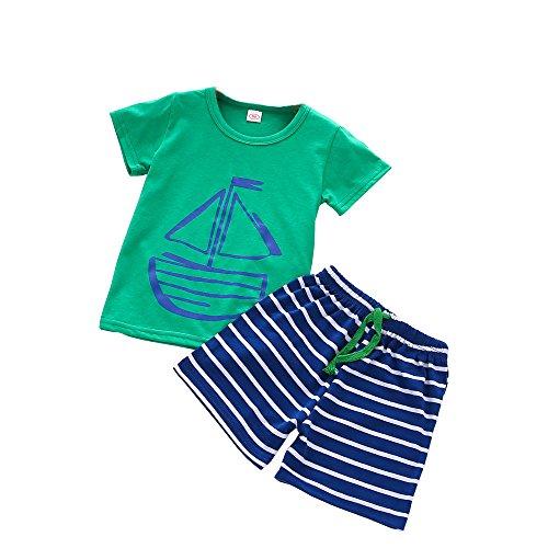 Vovotrade® 2PC D'été Casual Enfants Belle Enfant Toddler Dessin Animé Dinosaure Impression Printe T-Shirt + Plage Shorts Pantalon Ensemble (Blue, 1T)