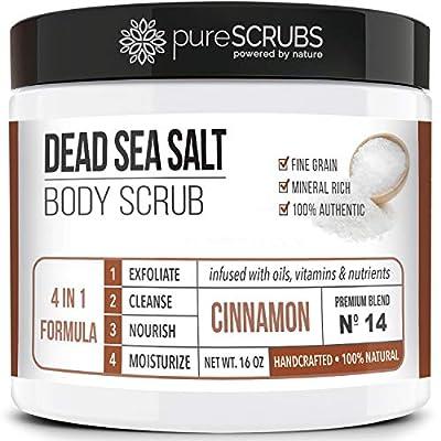pureSCRUBS Premium Organic Body Scrub Set - Large 16oz Body Scrub - Pure Dead Sea Salt Infused With Organic Essential Oils & Nutrients + Wooden Stirring Spoon + Loofah + Organic Exfoliating Soap