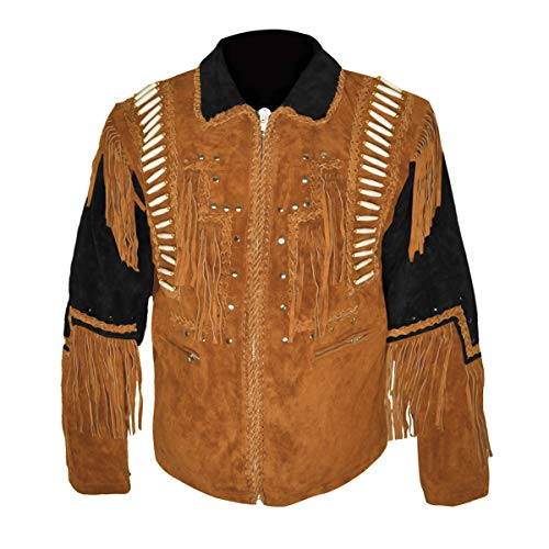 HLS Western Cowboy - Chaqueta de Piel con Flecos para Hombre D5 XXS-5XL, Color Negro y marrón Camello Negro y marrón Camello. X-Large