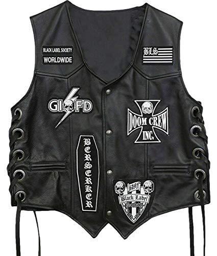 Black Label Society Skull Biker Chaleco de cuero real
