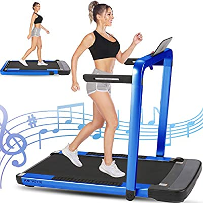 ANCHEER 2-in-1 Folding Treadmill, 2.25HP Electric Under Desk Treadmill for Home Workout, Walking & Running Exercise Machine for Small Spaces with Remote Control, LCD Screen & App (Blue)