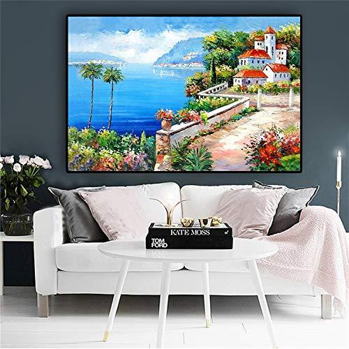 wZUN Pintura al óleo, Carteles de Arte e Impresiones sobre Lienzo de Plantas Verdes Paisaje de la Torre del jardín mediterráneo 60x90 Sin Marco