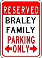 金属製の駐車場の看板インチ、ブレイリーファミリーパーキング、金属製のブリキの看板、ブリキの看板私有財産のためのヴィンテージコーヒーウォールコーヒー&バーの装飾、屋外の危険サイン