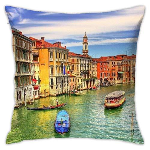 WH-CLA Pillow Cover Gran Canal Italiano Venecia Sin Costuras Decoración del Hogar Regalo Fundas De Cojín Fundas para Sofá De Coche Sofá Fiesta 45X45Cm Sofá De Oficina con Cremallera Apar