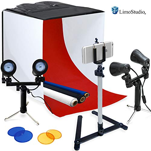 LimoStudio Photography Table Top Photo Light Tent Kit, 24 Photo Light Box, Continous Lighting Kit, Camera Tripod & Cell Phone Holder AGG1069