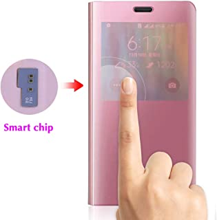 Phone Case for Samsung Galaxy Note 4 Flip Folio Leather Cover with Screen Protector S Smart Chip Cell Accessories Slim Hard Mirror Cute Clear View Glaxay Note4 N910A Not Notes Women Girls Rose Gold