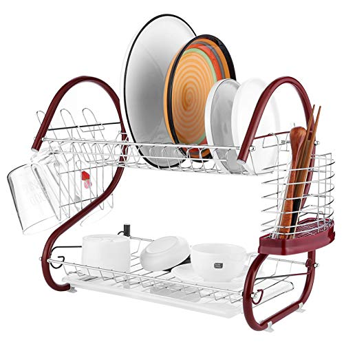 2 Tier Dish Drying Rack, Stainless Steel Dish Drying Rack with drainboard/Cup Holder and Removable Drainer Tray & Cutlery Holder for Kitchen Organizer
