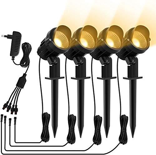 MEIKEE LED Gartenlampe Warmweiß, 4er Set 7W LED Gartenstrahler COB LED Gartenleuchten mit Erdspieß, IP66 Wasserdicht 800LM mit Stecker für Außen Garten Rasen Terrasse