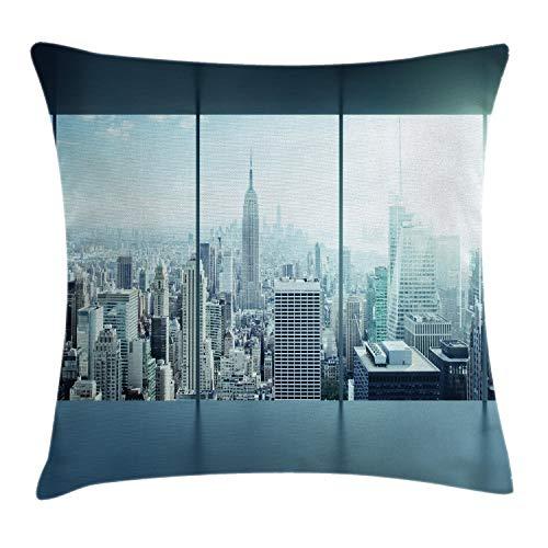 ABAKUHAUS New York Federa Fodera Cuscino, Urbano Modern City, Copricuscino Quadrato Decorativo, 40 cm x 40 cm, Cielo Blu