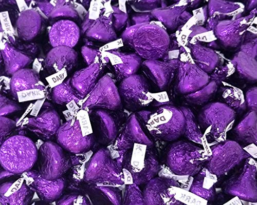 CrazyOutlet Hershey's Kisses Special Dark Mildly Sweet Chocolate, Purple Wrapping, Mother's Day Candy, Bulk 2 Lbs