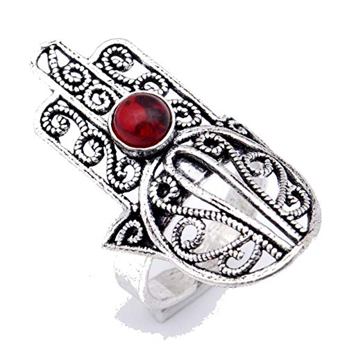 Red Garnet Quartz! Girls Ring, Sterling Silver Plated Handmade Art Jewelry! Full Variety Store for Wedding Anniversary Birthday Party Gift, Ring Size 8.5 US (Adjustable)