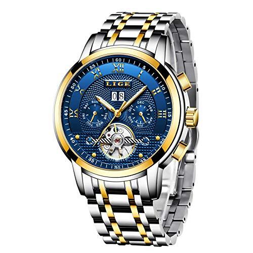 Herren Uhren,Automatische Mechanische Edelstahl wasserdichte Armbanduhr Herren LIGE Luxusmarke Datum Skeleton Tourbillon Uhr, Gold Blau