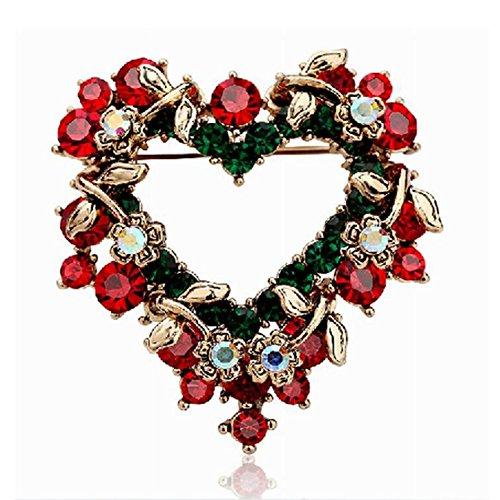 Bluelover Navidad Joyas Corazón Festivo Broche Perla Regalo Camisa Collar Broche