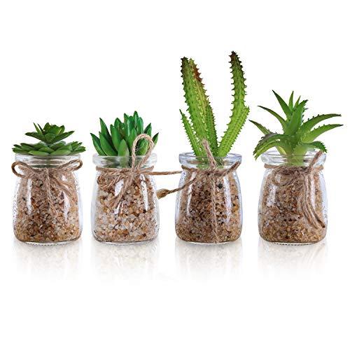 BELLE VOUS Kunstpflanzen (4 STK) - Deko Mini Plastik Sukkulenten Kaktus Pflanzen in Glas Topf - Kunstblumen Kakteen Grün in Glas Vase als Wohnaccessoires, Büro Pflanze, Regal, Dekoration