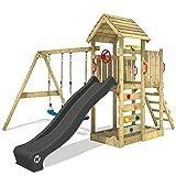 WICKEY Aire de jeux Portique bois MultiFlyer toit en bois avec balançoire et toboggan anthracite, Maison enfant exterieur avec toit en bois, bac à sable, échelle d'escalade & accessoires de jeux