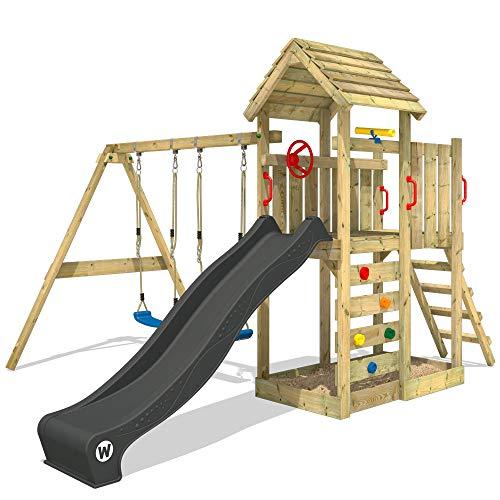 WICKEY Spielturm Klettergerüst MultiFlyer Holzdach mit Schaukel & anthraziter Rutsche, Kletterturm mit Holzdach, Sandkasten, Leiter & Spiel-Zubehör