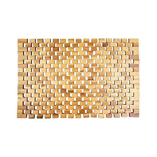 Badvorleger Holz | rutschfeste Badematte | Robuste Holzmatte für Badezimmer - Sauna & Wellnessbereich - Badteppich aus 100% Akazienholz – 50x80 cm