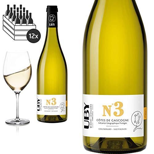 12er Karton 2019 Colombard - Sauvignon N° 3 Côtes de Cascogne Domaine d'Uby Weißwein