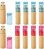 Libetui 10 Buntstifte Sets mit Spitzer für Kinderparty Geburtstag Hochzeit Restaurant als Mitgebsel Kindergeschenk Gastgeschenke - 6 Farben (Rosa Blau Deckel)