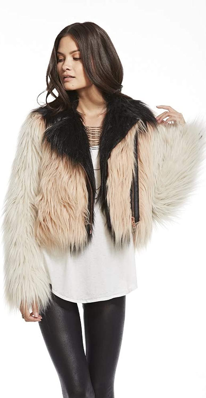 Chaser Women's color Blocked Faux Fur Moto