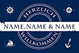 Eule-Design Fußmatte Hamburg Seemann & Meer mit Namen Hafen Schiff Yacht Anker (Blau, 60x40)