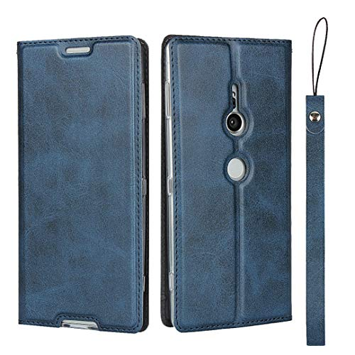 Hülle für Sony Xperia XZ2, SONWO Ultra dünn PU Ledertasche Flip Brieftasche Handyhülle für Sony Xperia XZ2, mit Karteneinschub und Magnetverschluss, Blau