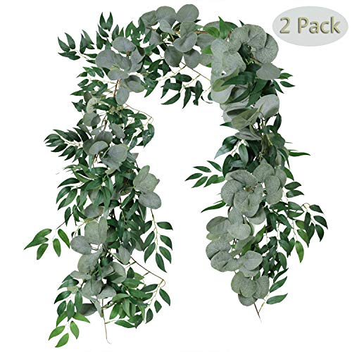Homcomodar Kunstmatige Eucalyptus laat wijnstokken nep opknoping Wilg bladeren planten slinger string in groene bruiloft Decor