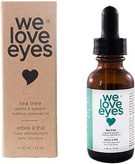 We Love Eyes- All Natural Tea Tree Eye Makeup Remover Oil - Waterproof Mascara Eyeliner - Wipe away Bacteria, Demodex, Deb...