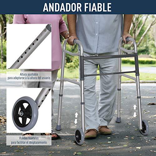 516MXVrohOL. SL500  - HOMCOM Andador para Ancianos Caminador Plegable con Altura Ajustable Almohadillas de Pies Marco de Aleación de Aluminio 64x50x77-95 cm Plata
