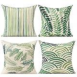 All Smiles Verde Hojas Fundas de Cojines y Almohada Hogar Decorativos Exterior de la Selva Tropical para Muebles de Patio con Palmeras 50 x 50CM 4PC