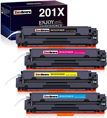 Zambrero Compatibile Cartucho De Tóner Reemplazo para HP 201X 201A CF400X CF401X CF402X CF403X CF400A para HP Color Laserjet Pro MFP M277dw M277n M274n M277 Laserjet Pro M252dw M252n