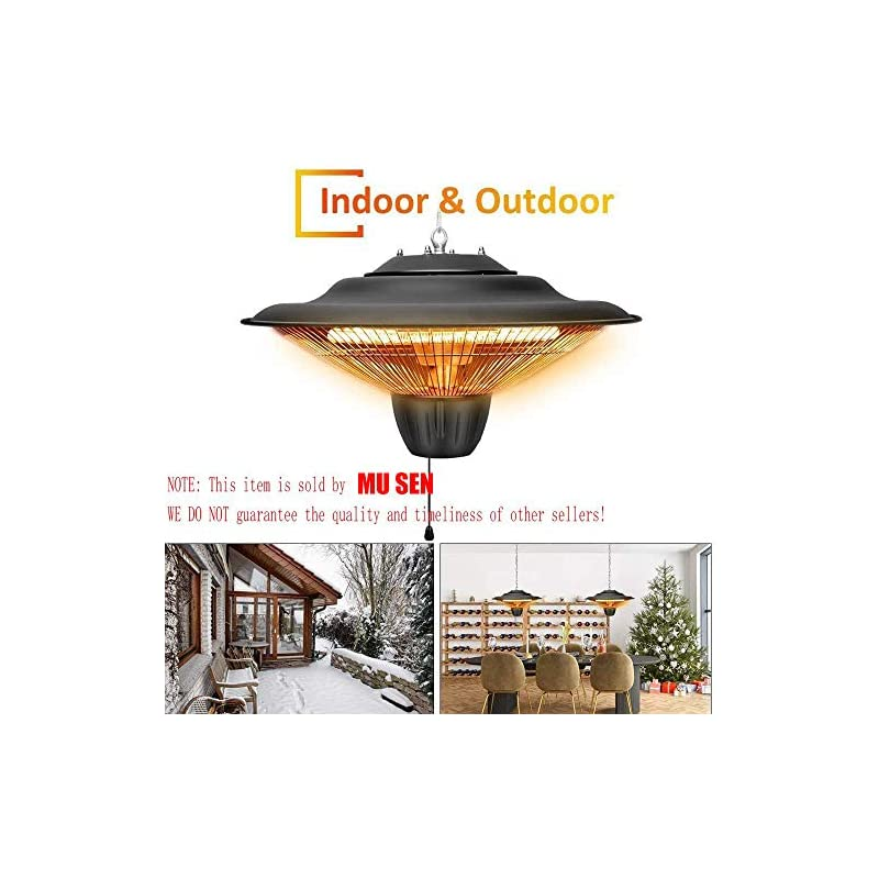 RENXR Electric Ceiling Mounted Patio Heater, Outdoor Patio Heater 2000W Infrared Halogen Tube Outdoor Garden Ceiling…