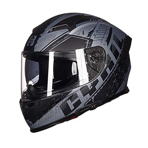 XGL Casco Integral Motocicleta para Adultos con Doble Visor,Casco Motocicleta ABS Ligero para Ciclomotor/Carreras/HelicóPtero/Scooter,Casco Integral Aprobado Dot para Hombres Y Mujeres,Gris,XXL