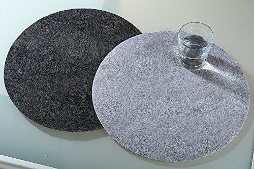 filz-platzset, rond, gris foncé, 4 SET