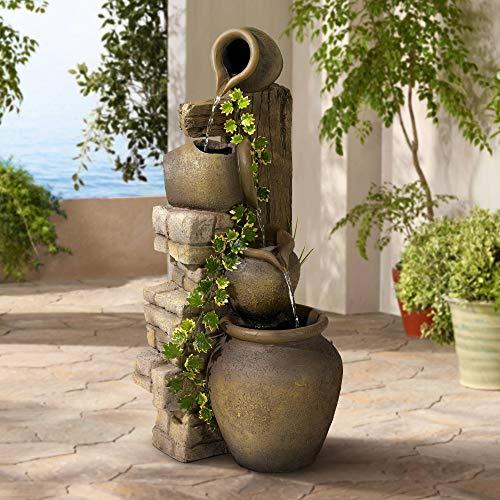 "Rustic Floor Water Fountain Three Jugs Cascading 33"" High Indoor Outdoor for Yard Garden Lawn - John Timberland"
